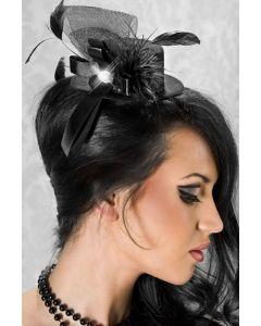 Musta minihattu,sulkakoristeella, Käsilaukut, käsineet, päähineet ja muut , Päähineet ja hiuskoristeet