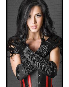 Satin gloves black with stones S-L, Käsilaukut, käsineet, päähineet ja muut